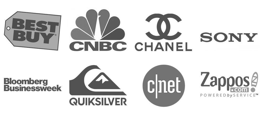 Logos of companies Stephan Spencer has worked for: Best Buy, CNBC, Chanel, Sony, Bloomberg Businessweek, Quiksilver, CNet, Zappos